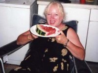Delores eating Melon